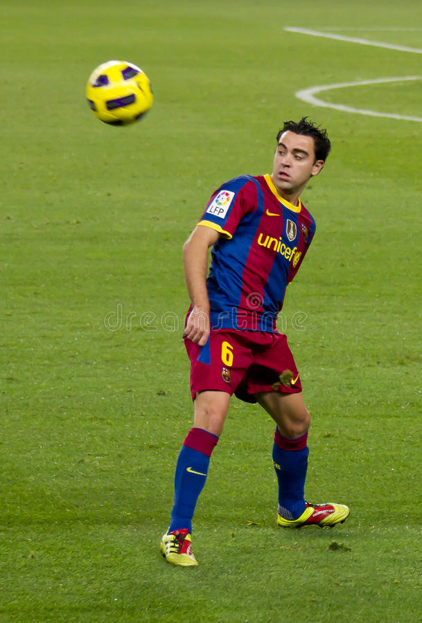Xavi (FC Barcelona). BARCELONA - DECEMBER 13: Nou Camp stadium, Spanish League match: FC Barcelona - Real Sociedad, 5 - 0. In the picture, Xavi. December 13 royalty free stock photos