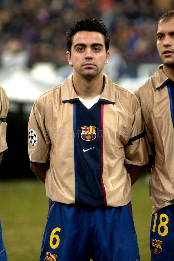 Xavi before the match. Milan Italy ,26 February 2003, `G.Meazza  San Siro` Stadium, UEFA Champions League 2002/2003, FC Inter - FC Barcellona: Xavi before the royalty free stock image
