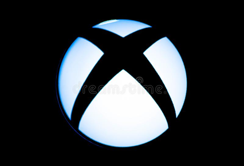Xbox宏观射击的一电子游戏商标关闭 库存照片