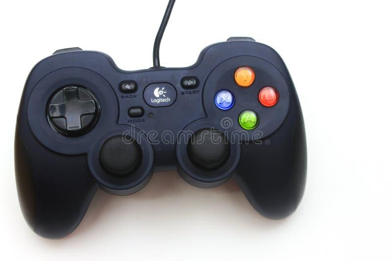XBOX x box controller, logitech controller, joystick. Logitech game controller on white screen royalty free stock photography