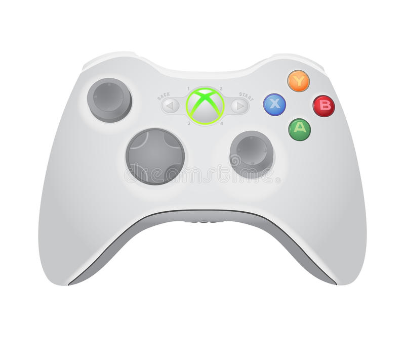 Xbox gamepad illustration. Xbox video game controller illustration isolated on white background with shadow stock illustration