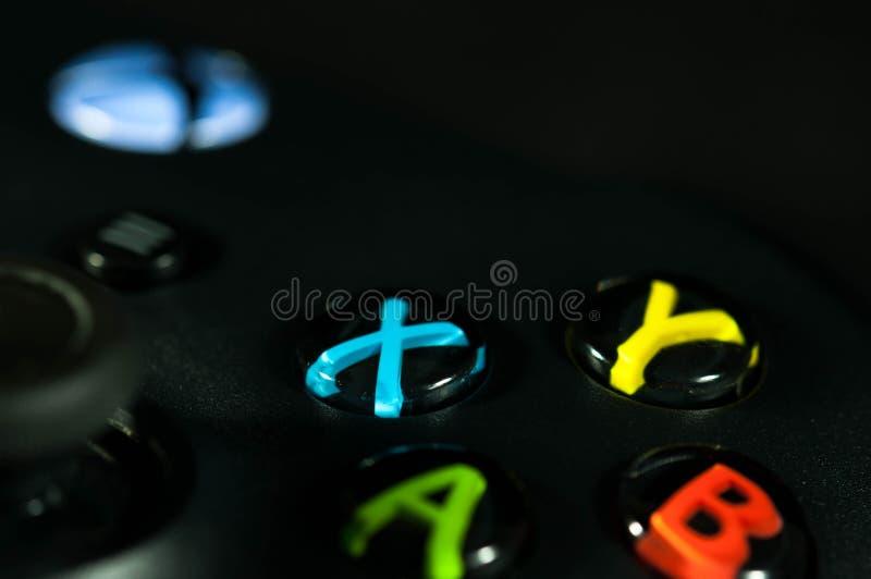 Xbox um fim do controlador do jogo de vídeo acima do tiro macro fotos de stock