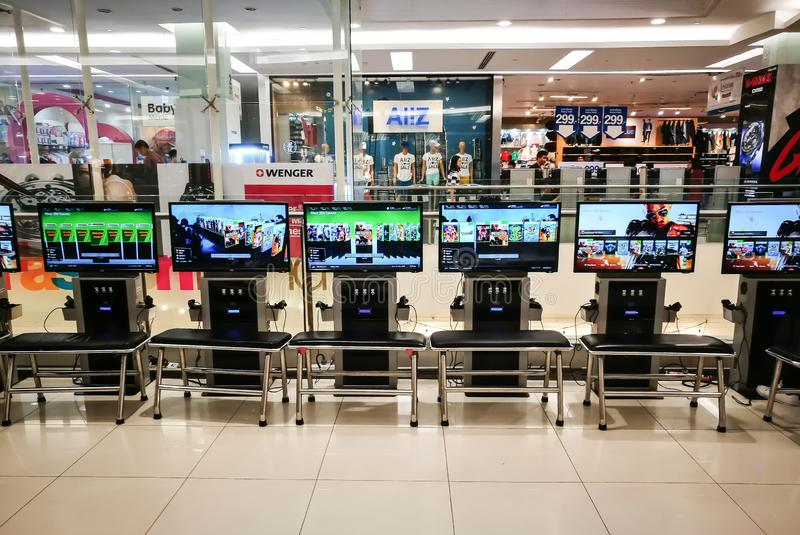 Xbox 360 Video game pay per hour for playing at Thailand shopping center. stock image