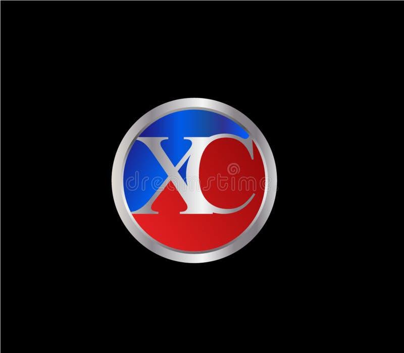 XC forma inicial Logo Design posterior color plata azul rojo del c?rculo stock de ilustración