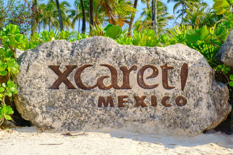 XCaret, a famous ecotourism park on the mexican Mayan Riviera. XCARET,MEXICO - APRIL 16,2019 : XCaret, a famous ecotourism park on the mexican Mayan Riviera stock images