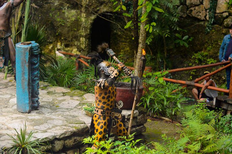 Mayan people in Mexico. XCARET, MEXICO - NOV 8, 2015: Unidentified man wears the leopard body paint of a Maya indian. The Mayan are a group of Indigenous people royalty free stock images
