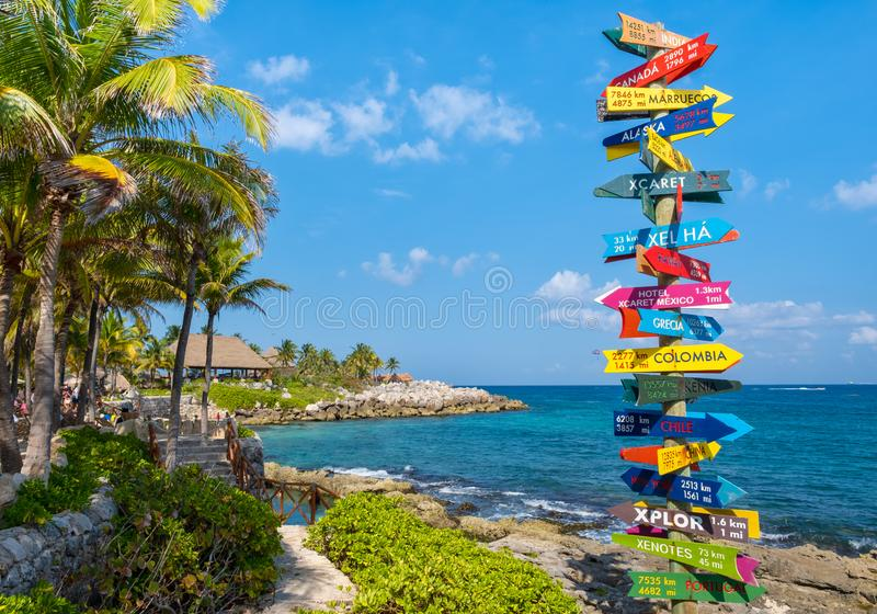 The XCaret park  on the Mayan Riviera in Mexico. XCARET,MEXICO - APRIL 16,2019 : The XCaret park  on the Mayan Riviera in Mexico on a beautiful sunny day royalty free stock photography