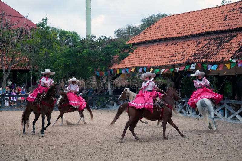 Xcaret Rodeo show performers. Displaying their horse riding skills on March 6, 2012 in Xcaret, Mexico. The Xcaret park is a major tourist attraction in the area stock photo