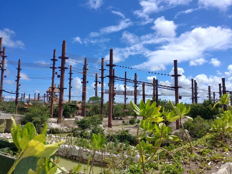 Xcaret Xavage High Ropes Course royalty free stock photos