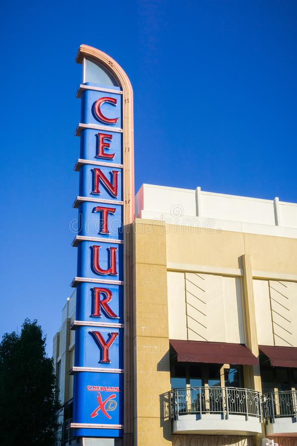 XD Century Theaters sign. December 3, 2017 Redwood City / CA / USA - Redwood Downtown 20 and XD Century Theaters sign, San Francisco bay area royalty free stock photos