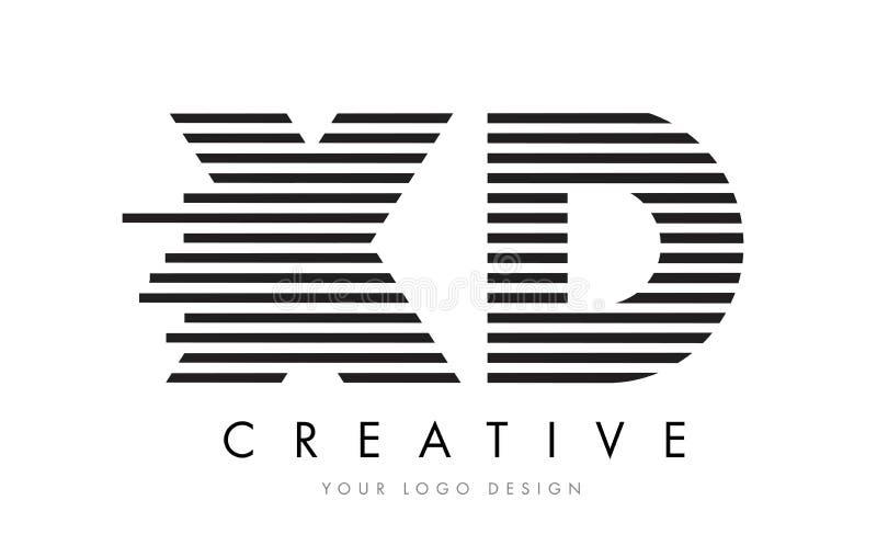 XD X de Gestreepte Brief Logo Design van D met Zwart-witte Strepen vector illustratie
