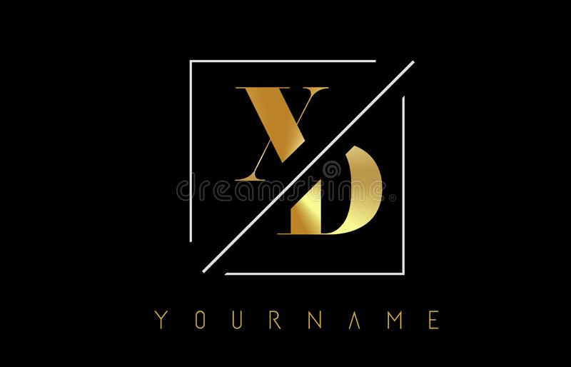 XD Golden Letter Logo with Cutted and Intersected Design. And Square Frame Vector Illustration vector illustration