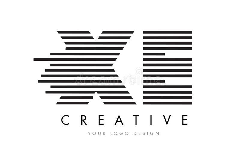 XE X E Zebra Letter Logo Design with Black and White Stripes stock illustration