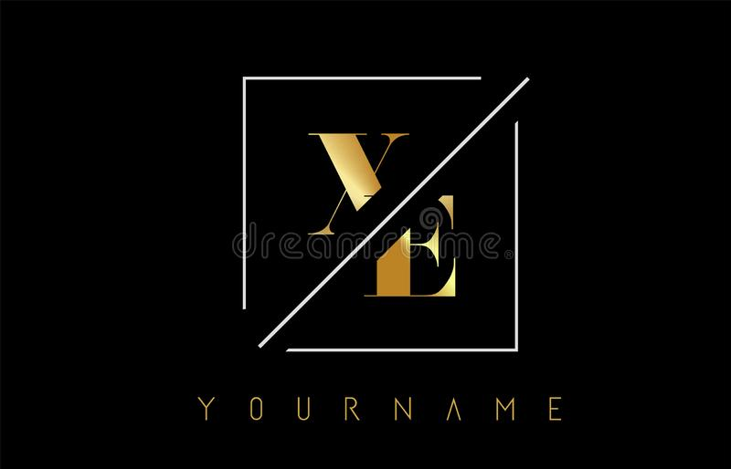 XE Golden Letter Logo with Cutted and Intersected Design. And Square Frame Vector Illustration stock illustration