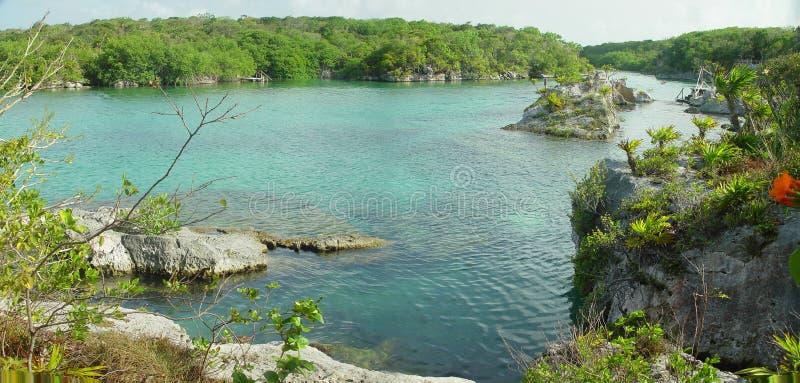 Xel-Ha Lagunepanorama, Mexiko stockbild