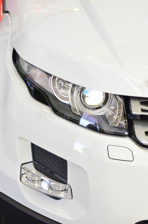 Xenon car head light and fog light. Details of a car head light with xenon stock photography