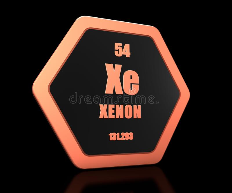 Xenon chemical element periodic table symbol 3d render royalty free illustration