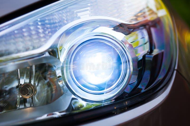 Xenon headlamp optics. Close-up view stock photo