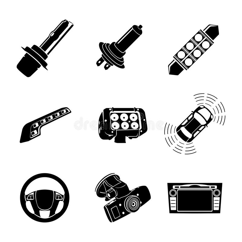 Xenon-LED lamps and car multimedia icon set royalty free illustration