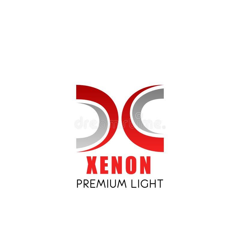 Xenon light symbol with modern font of X letter stock illustration