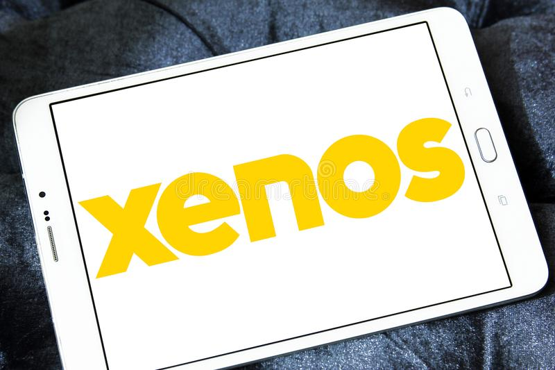 Xenos retailer logo. Logo of Xenos retailer on samsung tablet stock image
