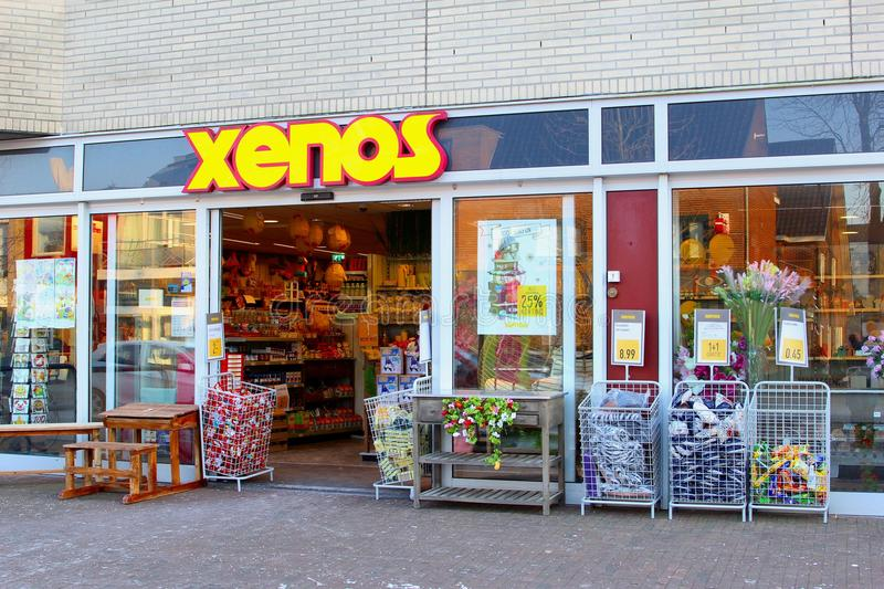 Xenos shop store building chain corporation, Netherlands. Xenos shop sells furniture, interior design products, food, household items, gifts other things in many royalty free stock images