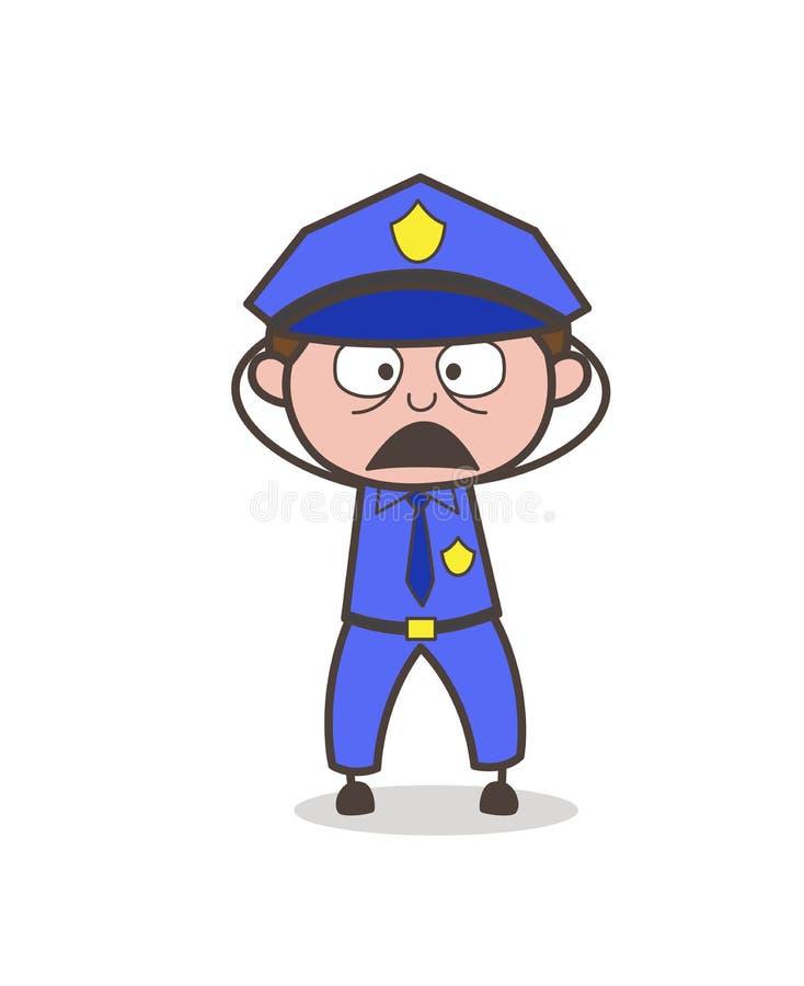 Xerife Astonished Face Expression dos desenhos animados ilustração do vetor