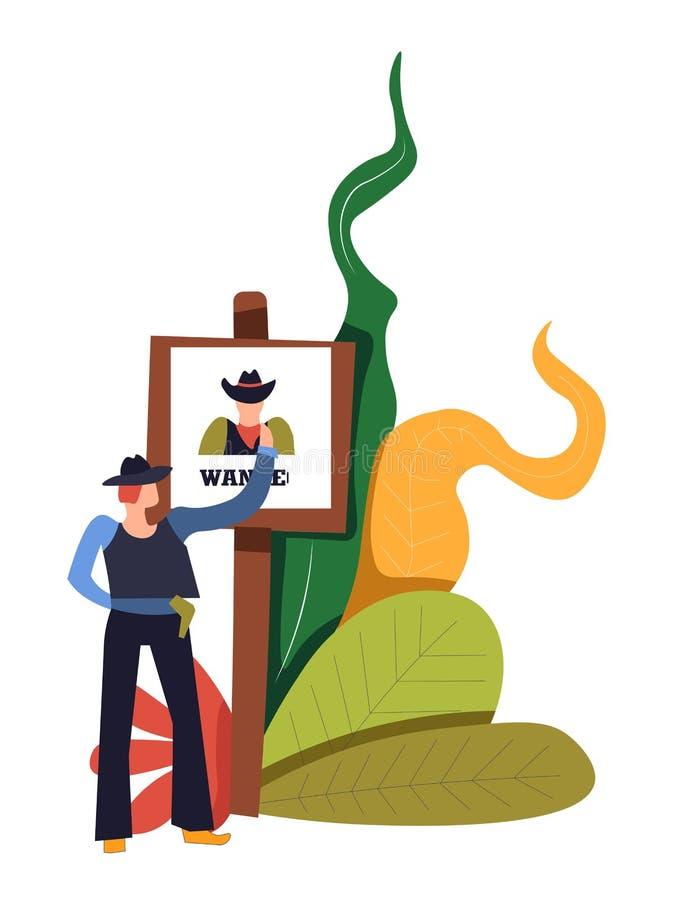Xerife do vaqueiro que procura pela pessoa querida bandido a bordo ilustração do vetor