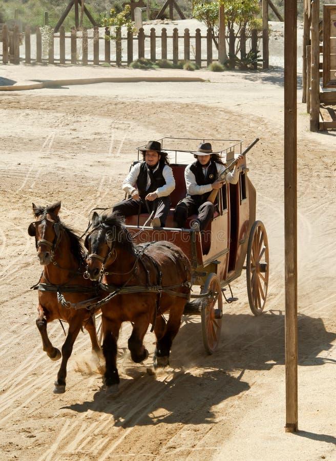 Xerife e seu deputado em um stagecoach fotos de stock royalty free