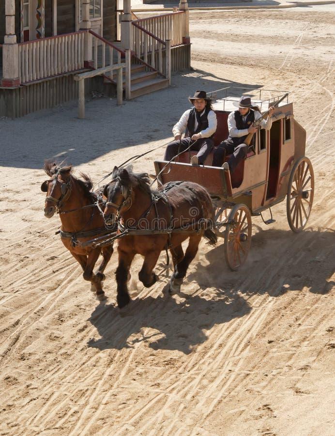 Xerife e seu deputado em um stagecoach imagem de stock