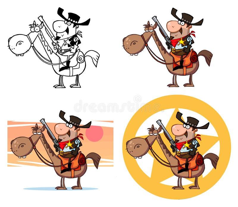 Xerife ocidental em um cavalo ilustração royalty free