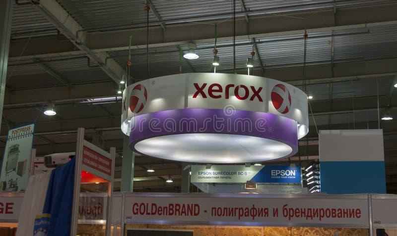 Xerox-de cabine bij de Internationale handel van t-REX 2013 toont royalty-vrije stock afbeeldingen