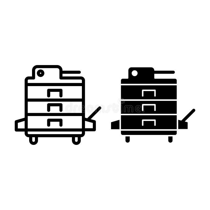 Xerox zeichnen und Glyphikone Kopierervektorillustration lokalisiert auf Weiß Kopieren Sie das Entwurfsartdesign, bestimmt für Ne lizenzfreie abbildung