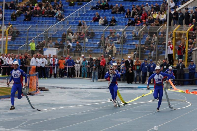 XI在火和抢救体育的世界冠军在圣彼德堡,俄罗斯 免版税库存照片