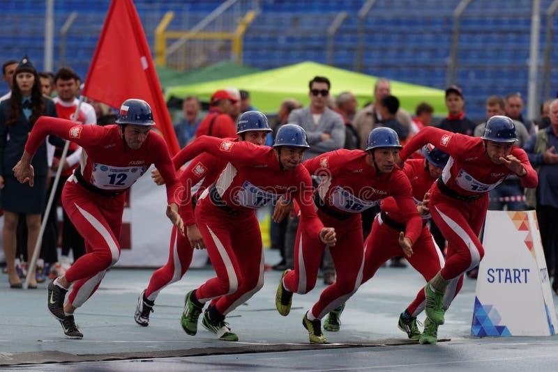 XI在火和抢救体育的世界冠军在圣彼德堡,俄罗斯 免版税图库摄影
