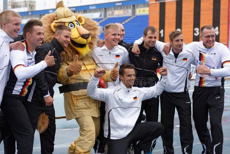 XI在火和抢救体育的世界冠军在圣彼德堡,俄罗斯 图库摄影