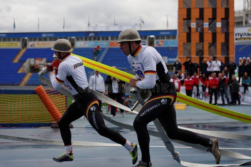 XI在火和抢救体育的世界冠军在圣彼德堡,俄罗斯 库存照片