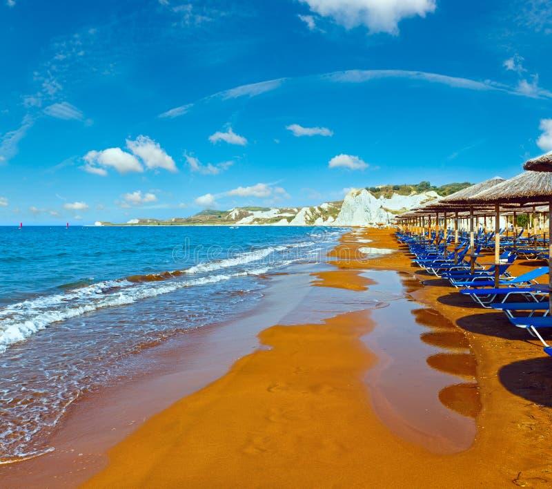 XI海滩早晨视图希腊, Kefalonia 库存照片