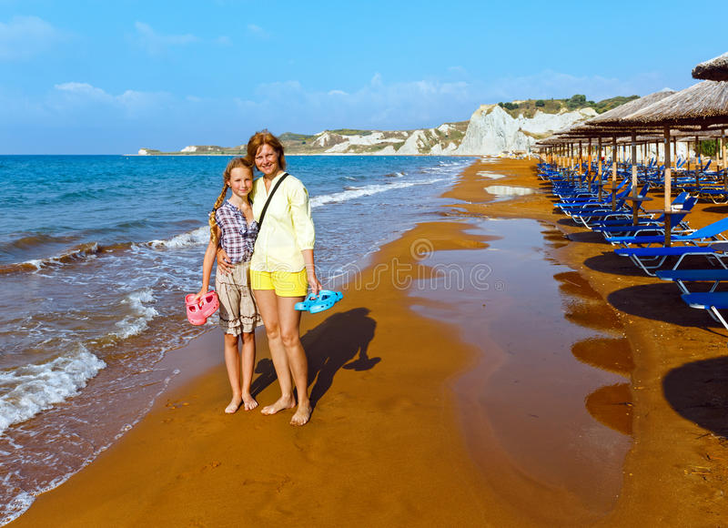 XI海滩早晨视图(希腊, Kefalonia) 免版税库存照片