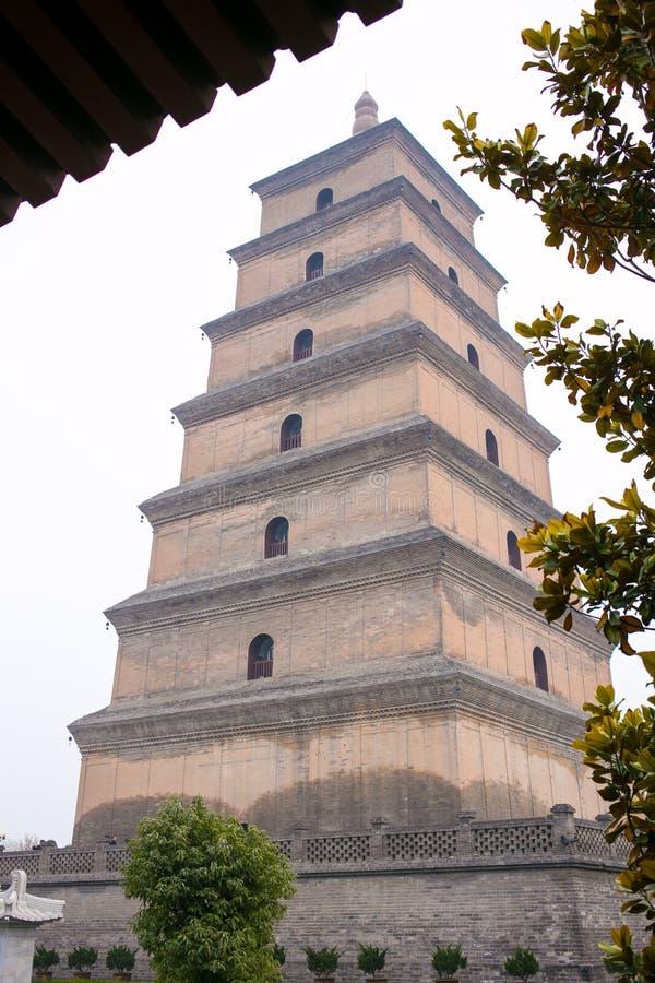 XI `在大厦里面的中国Ci ` en寺庙,叫大狂放的鹅塔 库存图片