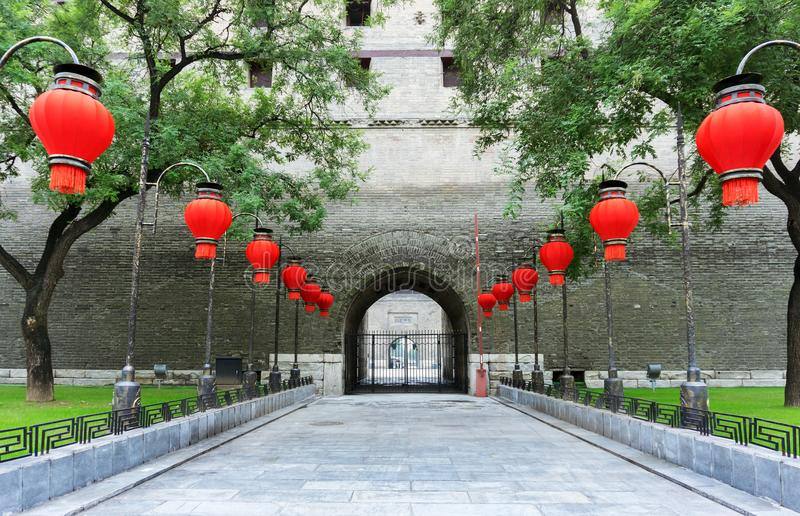 Xi`an ancient city wall. City gate, ancient city wall entrance, Xi`an, China royalty free stock photography