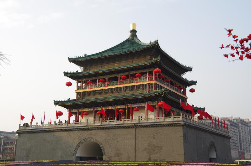 Xi'an Bell Tower. Xi 'an bell tower, built in the Ming emperor zhu yuanzhang hongwu seventeen years (1384 AD), is located in the center of xian city, north and royalty free stock photo