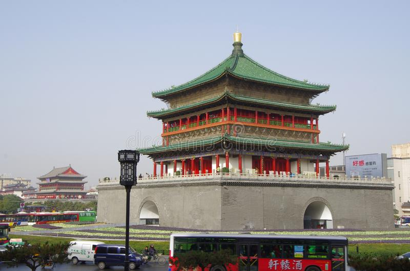 Xi 'an bell tower and drum tower stock photo