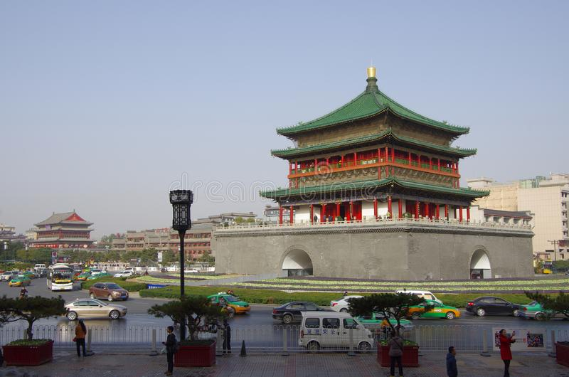 Xi `an bell tower and drum tower royalty free stock photography