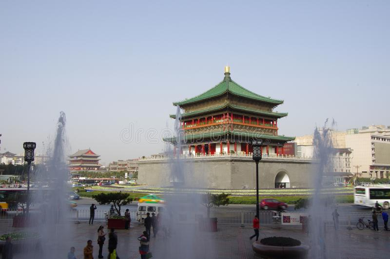 Xi `an bell tower and drum tower royalty free stock image