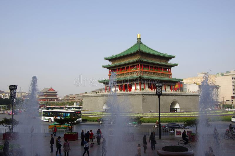 Xi `an bell tower and drum tower stock photo