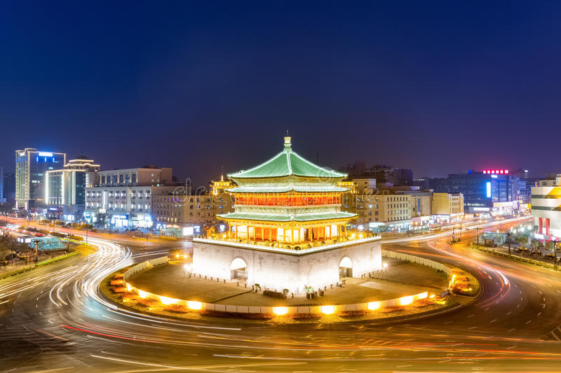 Xi`an bell tower at night royalty free stock image