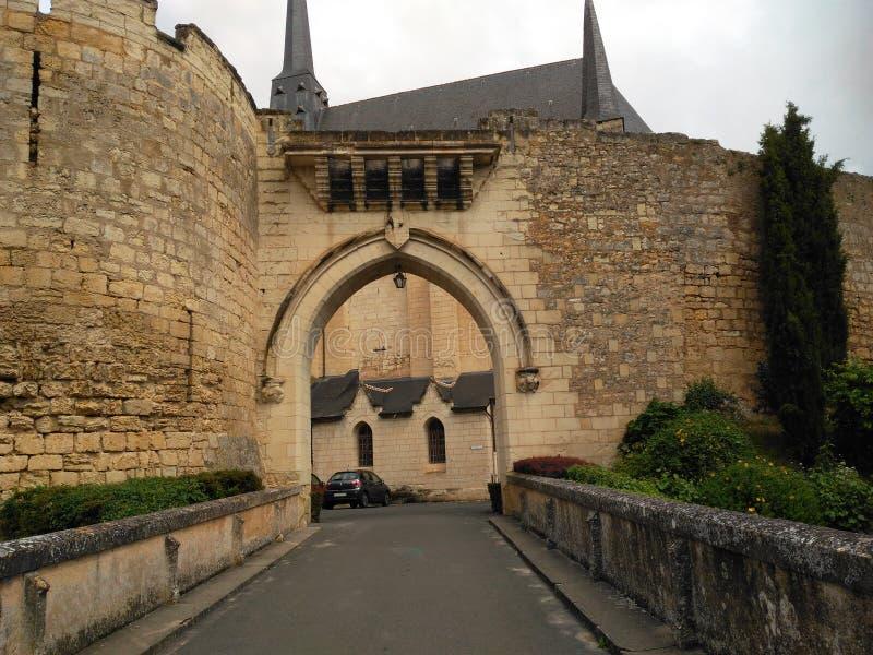 XI century building. 11th door bridge Road path Stone wall hole greenery Tower Church gateways rampart Lamp stock photos