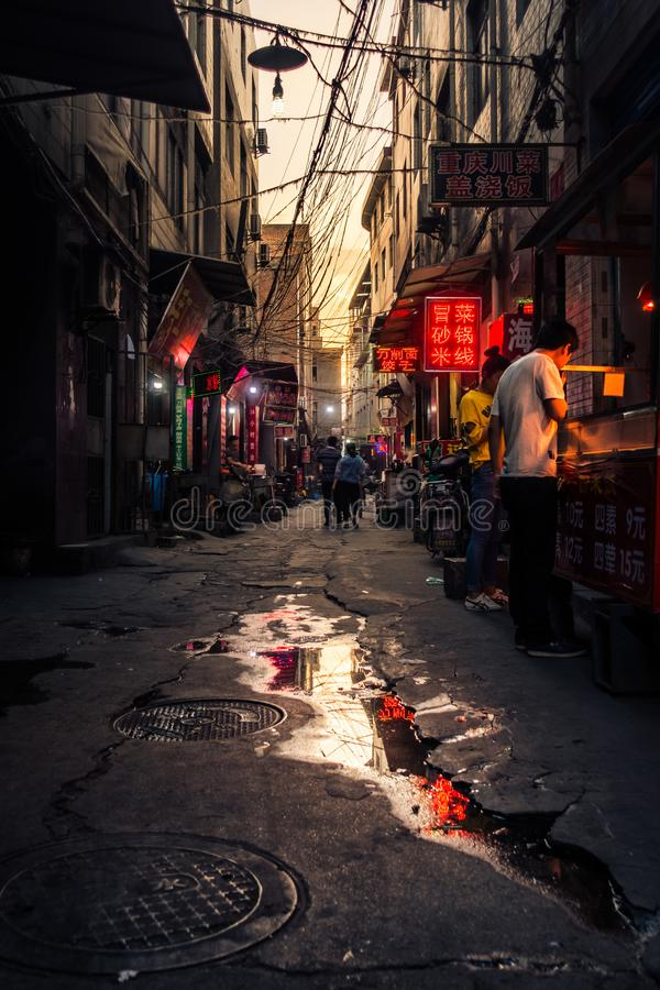 XI'AN, CHINA - MAY 14, 2018: Afternoon Sunset over a Chinese Urb stock image