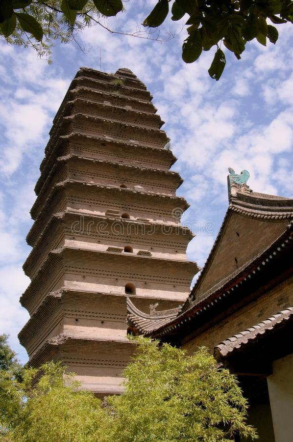 Xi'an, China: Small Goose Pagoda. C. 684 small (lesser) Wild Goose Pagoda stands 12 stories high and is a landmark building in the city of Xi'an, China (Lee stock image